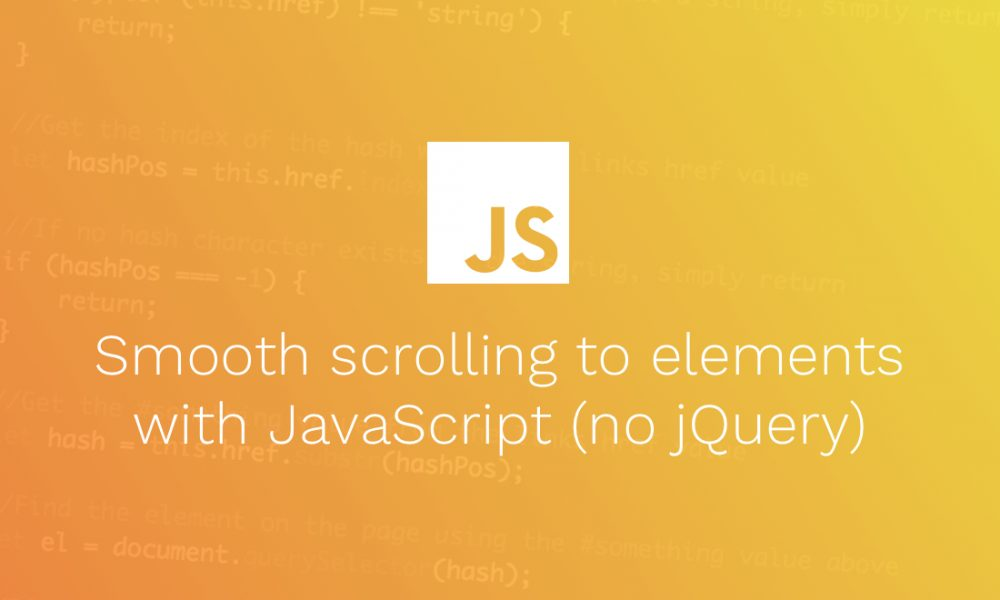 Smooth scrolling to elements with JavaScript (no jQuery)